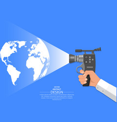 hand of the video operator vector image