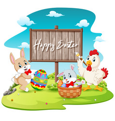 happy bunny and rooster painting egg vector image