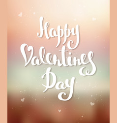 happy valentines day modern ink brush calligraphy vector image