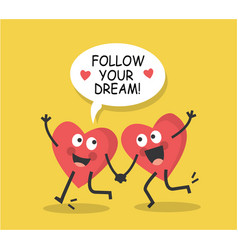 hearts run towards a dream vector image