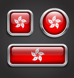 Hong Kong flag glass buttons vector image
