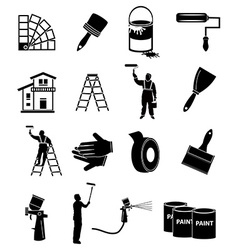 House painter icons set vector