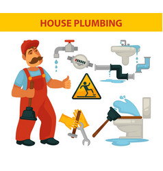 house plumbing themed set and vector image