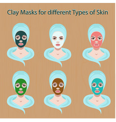 icons of female face with clay masks set vector image
