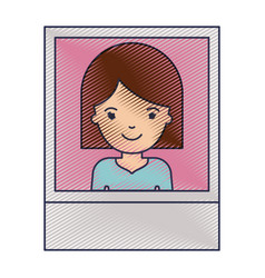 Identification photo of woman with hair middle vector