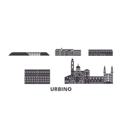 Italy urbino flat travel skyline set italy vector