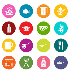 kitchen tools and utensils icons many colors set vector image