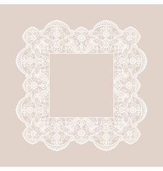 Lace square frame vector image