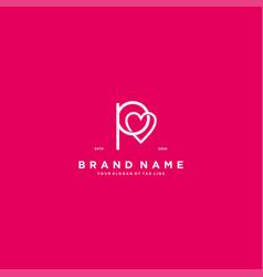 Letter p heart logo icon design vector