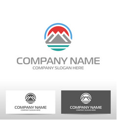 Logo design with mountains and river vector