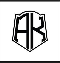 Logo monogram with shield shape outline design vector