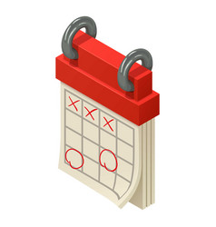 Marked calendar icon isometric style vector