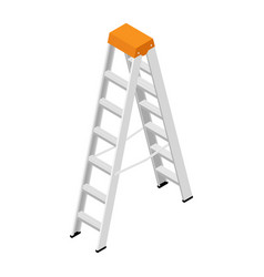 metallic household steps isolated aluminum ladder vector image