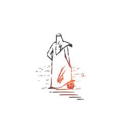 Muslim footballer concept sketch hand drawn vector