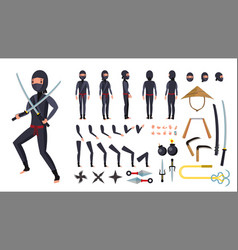 Ninja animated character creation set vector