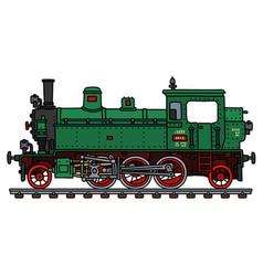 Old green tank engine locomotive vector