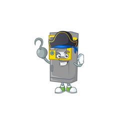 One hand pirate parking ticket machine wearing hat vector