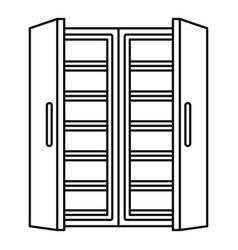 Open fridge icon outline style vector