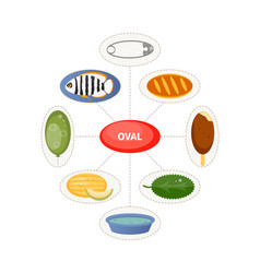 Oval and oval objects for children vector