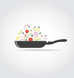 Pan with colorful vegetables vector