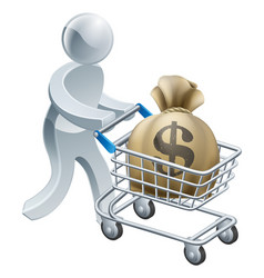 Person pushing trolley with money vector