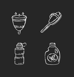 Personal eco products chalk white icons set vector