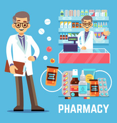 pharmacy elements with male pharmacist vector image