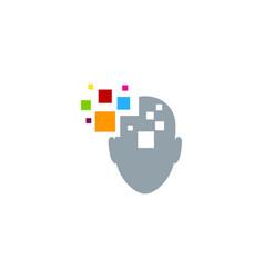 Pixel art human head logo icon design vector
