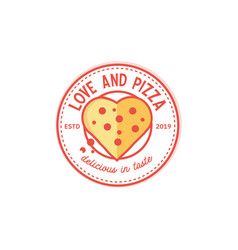pizza vintage and love shape logo design vector image