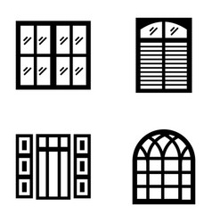 Plantation shutters icons vector