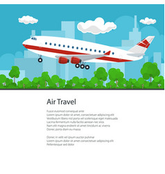 poster airplane flies to the west vector image