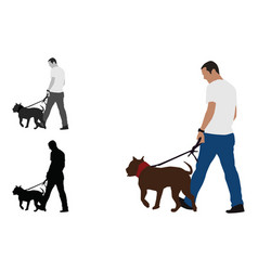 realistic colored of a man walks a staffordshire vector image