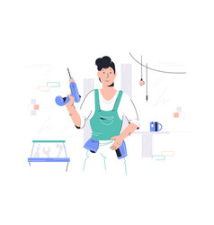 Repairman with drill vector