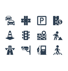road traffic related icon set vector image