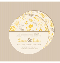 Round wedding invitation card yellow vector