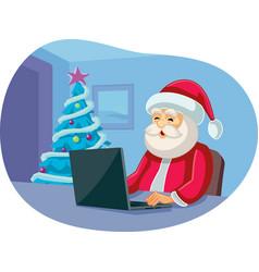 Santa claus checking messages on laptop cartoon vector
