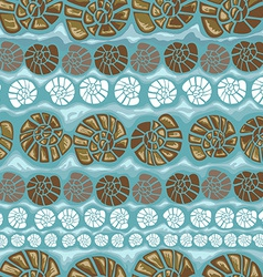 Seamless pattern with shells on a green background vector image