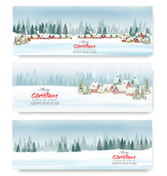 set holiday christmas banners with a winter vector image
