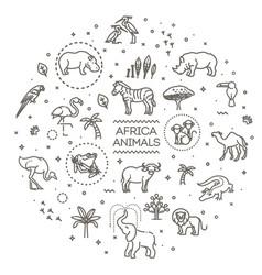 Set linear african animals vector