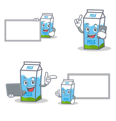 Set of milk box character with board phone laptop vector