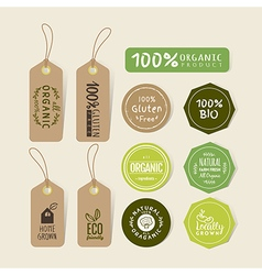 set organic food tag and label sticker vector image