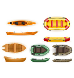 Set rowing boats made of plastic wooden and vector