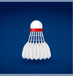 Shuttlecock white badminton accessory on blue vector