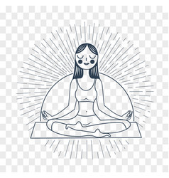 silhouette girl yoga linear style vector image