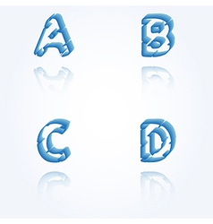 Sketch jagged alphabet letters A B C D vector
