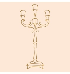 Sketched candle holder vector image