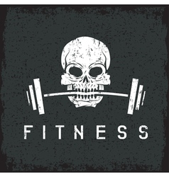 skull holding barbell in the teeth grunge fitness vector image