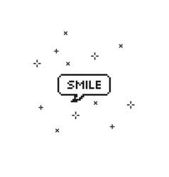 Smile in speech bubble 8 bit pixel art vector