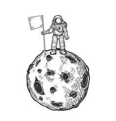 Spaceman on planet engraving vector