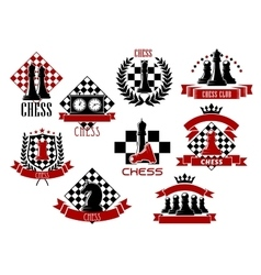 Sport emblems and icons of chess game vector image